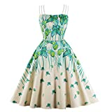Wellwits Women's Triple Cami Strap Butterfly Tea Party 1950s Vintage Dress 4XL