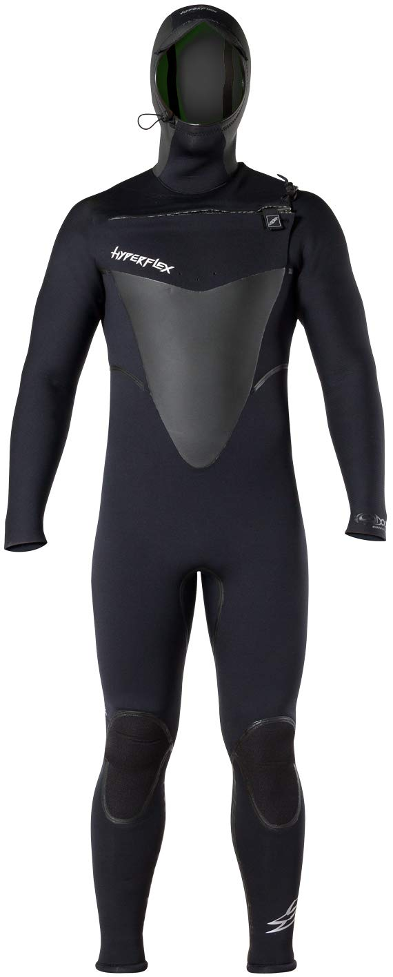 Hyperflex Wetsuits Men's Voodoo 6/5/4mm Hooded Front Zip Fullsuit, Black, Medium Short by Hyperflex