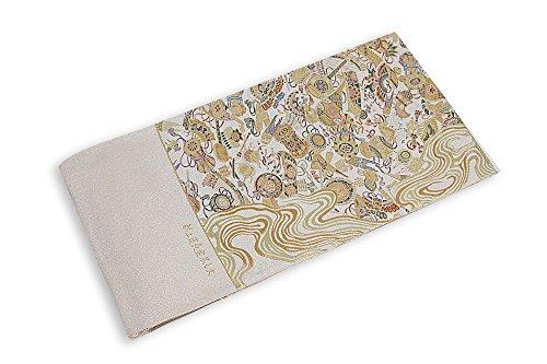 隣接ペデスタル良さ西陣袋帯 正絹袋帯 別誂え ベージュ×金×緑(扇子?びわ?鼓) つづれ織り 西陣証紙番号602