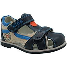 Apakowa Boy's Double Adjustable Strap Closed-toe Sandals (Toddler/Little Kid)