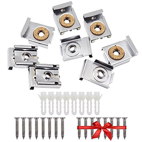 SelfTek 8 Pieces Bathroom Mirror Hanger Clips Set with Screws,Rawl Plugs and Extra Free 8 Pcs Screws ()