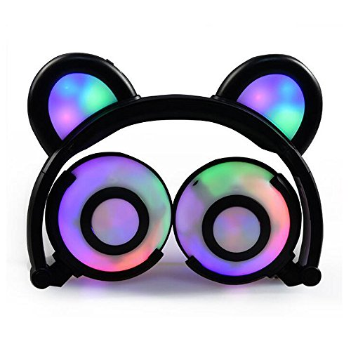 (Bear Ear Headphones,YingTech Kids Headphones Flashing Glowing Cosplay Fancy Foldable Over-Ear Gaming Headsets with LED Light for Girls,Children,Compatible for iPhone 7,Android Phone (Black))