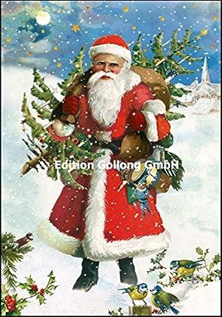 Nostalgische Weihnachtskarten Kaufen.Nostalgische Weihnachtskarte Carola Pabst Weihnachtsmann Glitzer