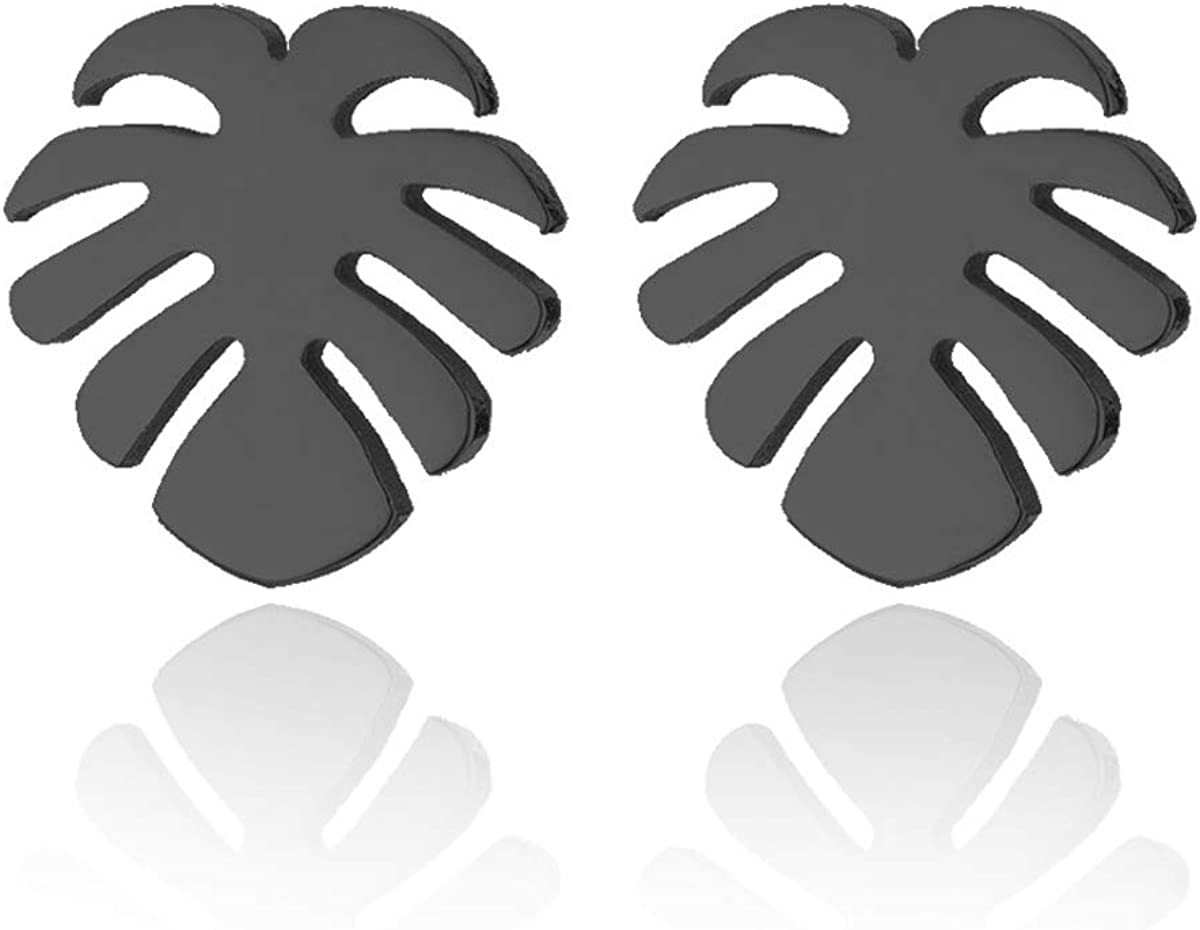Simple Stainless Steel Monstera Leaves Stud Earring for Women and Mens Punk Tropical Jewelry Gifts