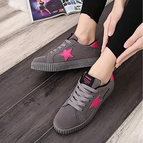 ZHZNVX Primavera poliuretano da Rosa Comfort Sneakers Estate Grigio PU Gray Scarpe piatto donna Tacco Rosso AXwAIqrB