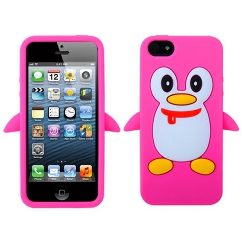 MYBAT AIPHONE5CASKPT408 Pastel Penguin Protective Case for Apple iPhone 5 / iPhone 5S - 1 Pack - Retail Packaging - Pink -