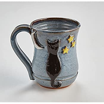 Numo - Solid-Color Ceramic Bistro Mug 16 Ounce Black  |Black Stoneware Pottery Mug