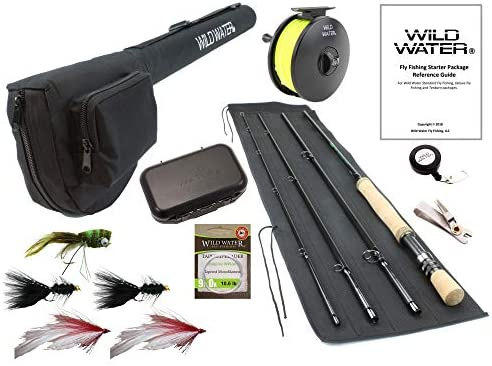 Wild Water Fly Fishing 9 Foot, 4-Piece, 9 10 Weight Fly Rod Complete Fly Fishing Rod and Reel Combo Starter Package with Freshwater Flies