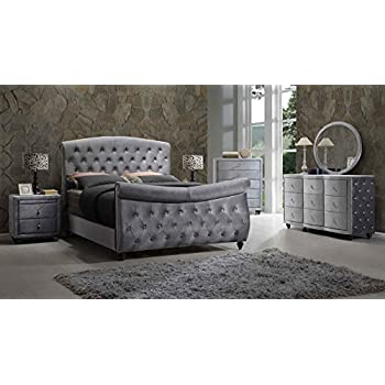 hudson sleigh bedroom set 5 pc king size bed 2 night stands dresser mirror diamonds tufted