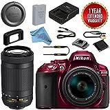 Nikon D5300 DSLR Camera 18-55mm + 70-300mm AF-P DX VR Lens Bundle (Red)