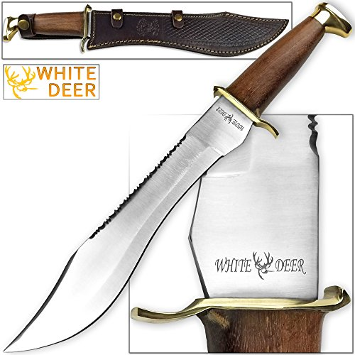 WHITE DEER MAGNUM Dave Dundee Bowie Knife Jungle Sawback Seratted Spine w Wood Handle