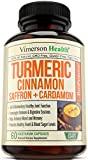 #4: Turmeric Curcumin with Saffron, True Ceylon Cinnamon, Cardamom & Bioperine - Anti-inflammatory Supplement - Helps Reduce Stress - Promotes Digestion, Heart Health & Blood Sugar Level - 60 Veggie Pills