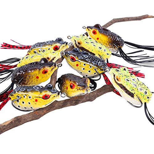 Sougayilang Hollow Frog Fishing Lures Soft Topwater Baits with Tackle Box for Bass Snakehead Saltwater Freshwater Fishing (9Pcs Frog Lures)