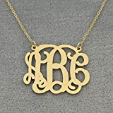3 Initials Monogram Necklace 1 Inch 10K or 14K Solid Gold Monogrammed Jewelry, Bridesmaids Gift GM31C