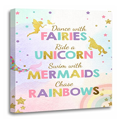 - TORASS Canvas Wall Art Print Pink Table Unicorn Party Sign Dance with Fairies Mermaid Birthday Artwork for Home Decor 20