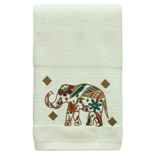 Bacova Boho Elephant Towel Set by White/Brown hand towel