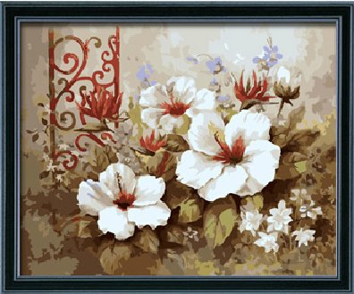 Diy oil painting, paint by number kit- Pure flowers 16*20 inch.