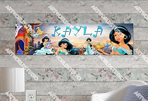 Customized Name Painting Disney Princess Jasmine Movie Poster with Your Name On It Personalized Banner