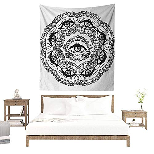 Ceiling Leaf Providence Light - Occult Tapestry Print in Abstract Floral Crown of Leaves Sticks with Eye of Providence Boho Symbol Tapestry for Home Decor 54W x 72L INCH Black White