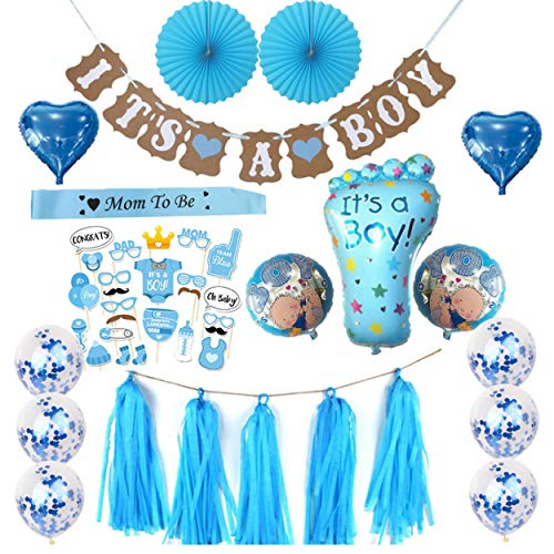 Baby Shower its a boy Party Decoration Set and Game Ideas, Gifts 64 Pcs (ITS A BOY) Baby Shower Decorations for Boy - Includes Matching 'Its A Boy' Banner & Balloons, Cute Photo Booth Props and Games