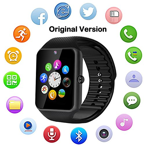 Camera Cell Watch Phone (Bluetooth Smart Watch with Camera, Touch Screen Smartwatch +Unlocked Watch Cell Phone Smart Phone Watch for Android/iOS Apple Smart Phones(Original Version) (Plain Black))