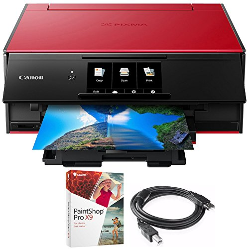 Canon PIXMA 9120 Printer Red (2231C042) Corel Paint Shop Pro X9 Digital Download & High Speed 6-foot USB Printer Cable