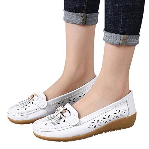 Women Workout Boat Shoes,Hemlock Hot Sales Slip-On Wedges Shoes Platforms Flats Sandals Outdoor Soft Bottom Espadrilles (US:8, White)