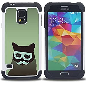 GIFT CHOICE / Defensor Cubierta de protección completa Flexible TPU Silicona + Duro PC Estuche protector Cáscara Funda Caso / Combo Case for Samsung Galaxy S5 V SM-G900 // Cat Art Hipster Moustache Glasses Feline //