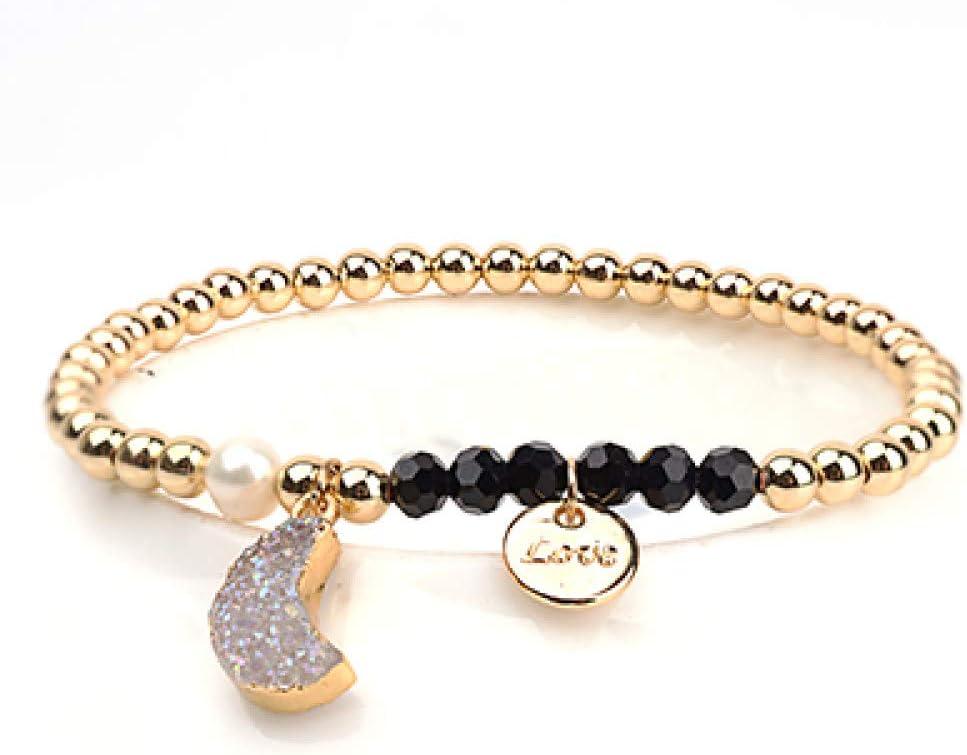 ZMMZYY Pulsera Piedra,Moda Colgante Luna Blanca Pulsera Piedra Natural Color Cobre Oro elástico Perlas Joyas Mujer