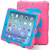 iPad Air 2 Case, iPad 6 Case, ACEGUARDER® [Shockproof] [Heavy Duty] [Military] Extreme Tough & Drop Resistance Soft Silicone Case with Kickstand for Apple iPad Air 2 (Whistle + Stylus Pen + Carabiner) (Rose/Blue)