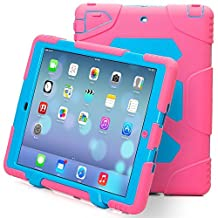 iPad Air 2 Case, iPad 6 Case, ACEGUARDER® [Shockproof] [Heavy Duty] [Military] Extreme Tough & Drop Resistance Soft Silicone Case with Kickstand for Apple iPad Air 2 (Rose/Blue)