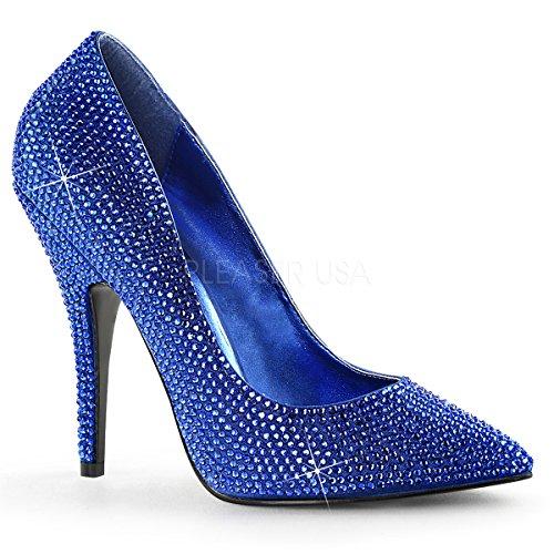 - Pleaser 5 Inch Heel, Rhinestone Covered Pointed Toe Pump (Royal Blue Satin;11)