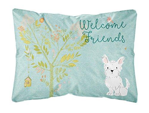 (Caroline's Treasures BB7640PW1216 Welcome Friends Westie Outdoor Canvas Pillow )