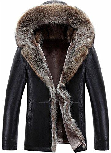 K3K Men's Winter Warm Shearling Sheepskin Leather Jacket Parka Luxury Raccoon Fur Collar Hooded Thicken Short Coat (Black, US ()