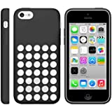 Ultra Slim Silicon Colourful Case for New Apple iPhone 5C Retro Dots Hole (Black)
