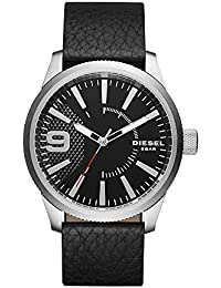 Men's 'Rasp' Quartz Stainless Steel and Leather Casual Watch, Color:Black (Model: DZ1766)