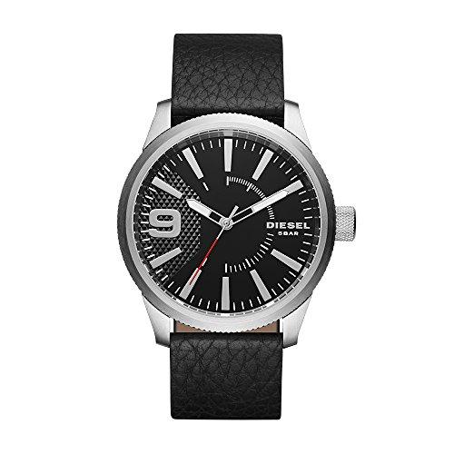 (Diesel Men's Rasp Stainless Steel Analog-Quartz Watch with Leather-Calfskin Strap, Black, 24 (Model: DZ1766)