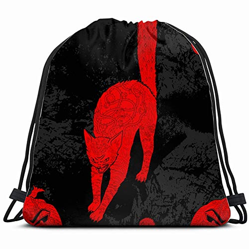 pattern halloween cat pumpkin animals wildlife holidays Drawstring Backpack Bag Gym sack Sport Beach Daypack for Girls Men & Women Teen Dance Bag Cycling Hiking Team Training 17X14 Inch -