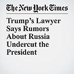 Trump's Lawyer Says Rumors About Russia Undercut the President | Nicholas Fandos,Matt Apuzzo