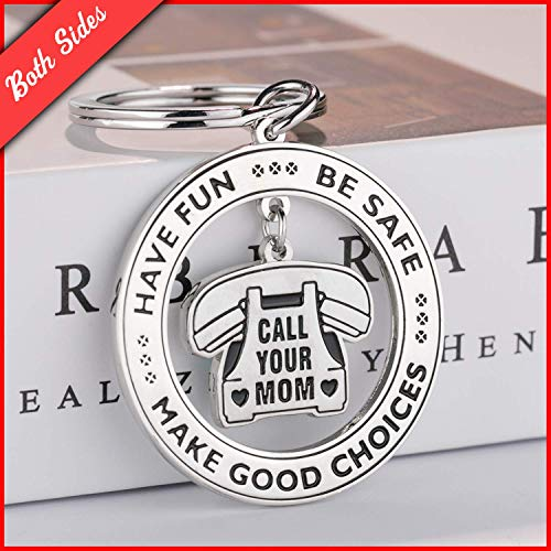 TERAVEX Have Fun, Be Safe, Make Good Choices and Call Your Mom, Stainless Steel Daughter Son Keychain Gift, New Driver or Graduation Christmas Key Ring Gifts Both Sided
