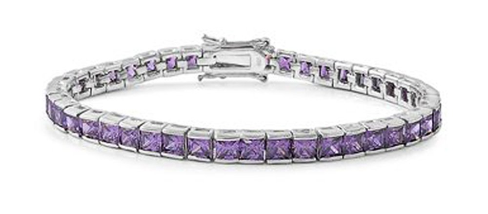 Sterling Silver Tennis Bracelet CZ with square charms - Purple - 7.5in