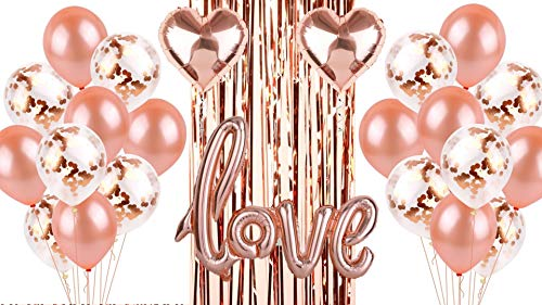 Rose Gold Balloons Love Confetti Party Decorations Kit - Backdrop Curtain Fringe Streamer Tinsel Selfie Photo Booth Supplies Bridal Shower Bachelorette Party Decoration Engagement Birthday Wedding ()