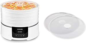 COSORI Food Dehydrator Machine for Beef Jerky, Fruit,Meat,Dog Treats,Herbs, 5 BPA-Free Trays with Timer & Food Dehydrator Machine Fruit Roll Sheets, BPA-Free Dehydrator Sheets for Round Dehydrator