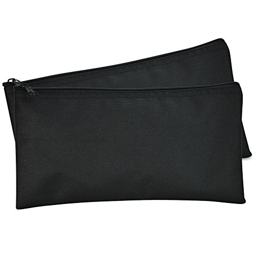 DALIX Bank Bags Money Pouch Securit Deposit Utility Zipper Coin Bag Black 2 Pack
