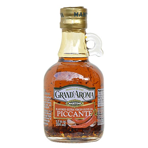 - 8.5 Oz Grand'aroma Piccante Flavored Extra Virgin Olive Oil, infused with hot peppers brings just the right touch of spicy flavor to all kinds of dishes. Great with Mexican or Thai food, with pasta, pizza, shrimp, or drizzled over fresh goat cheese for a spicy appetizer.