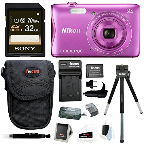 nikon-coolpix-s3700-camera-pink-with-32gb-sd-card-battery-pack-bundle