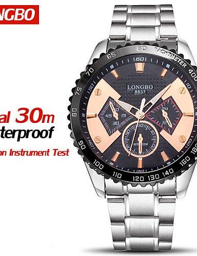 Longbo® Marca Relojes impermeable Mode LÄSSIG completamente de acero cuarzo Relojes Hombres Muñeco de lujo pulsera Relojes Calce: Amazon.es: Relojes