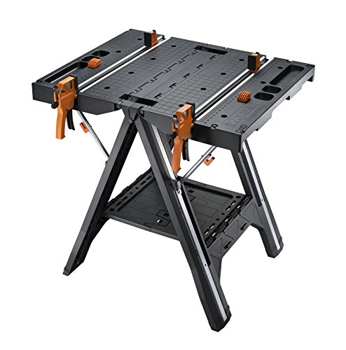 2 Station Workbench - WORX Pegasus Multi-Function Work Table and Sawhorse with Quick Clamps and Holding Pegs - WX051