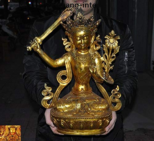 "SIYAO Wedding Decoration 19"" Tibetan Buddhism Bronze Gilt Hold Sword Manjushri Tara Kwan-yin Buddha Statue New Year"