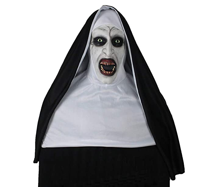 kigcos the nun devil valak mask deluxe latex scary full head halloween masks full coverage